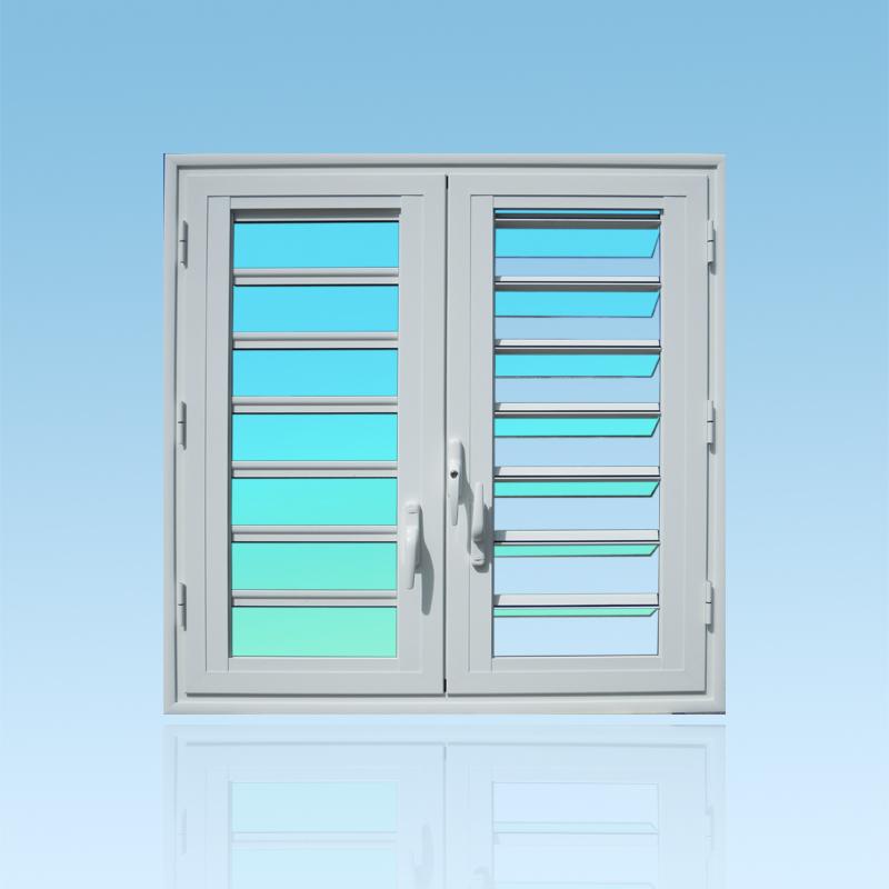 Fenêtre en aluminium OF25 deux vantaux avec jalousies 7 lames de verre ABD FERMETURES