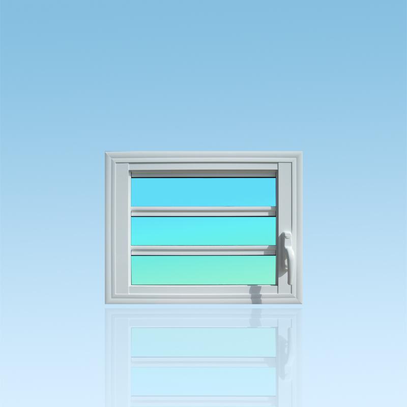 Jalousie fixe J103 en aluminium 1 division 3 lames de verre ABD Fermetures