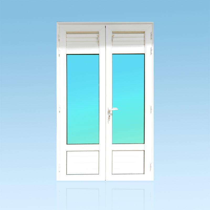 Porte PE24 aluminium lames ventilantes et allèges pleines ABD FERMETURES