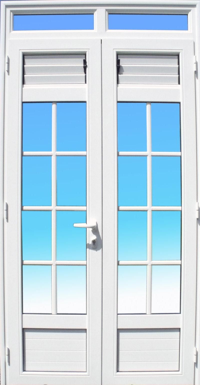 Porte 2 vantaux petit bois et lames ventilantes ABD Fermetures