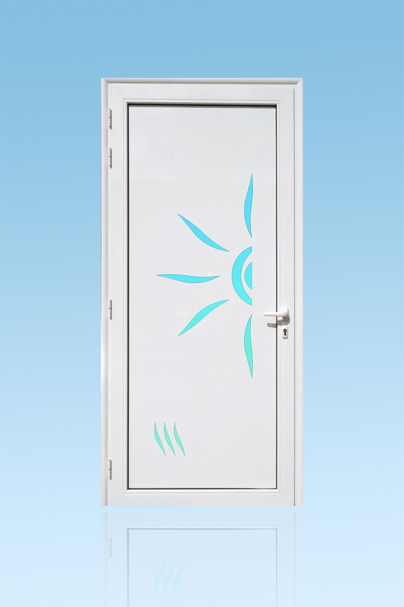 Porte d'entrée décor Soleil en aluminium et verre opale ABD Fermetures