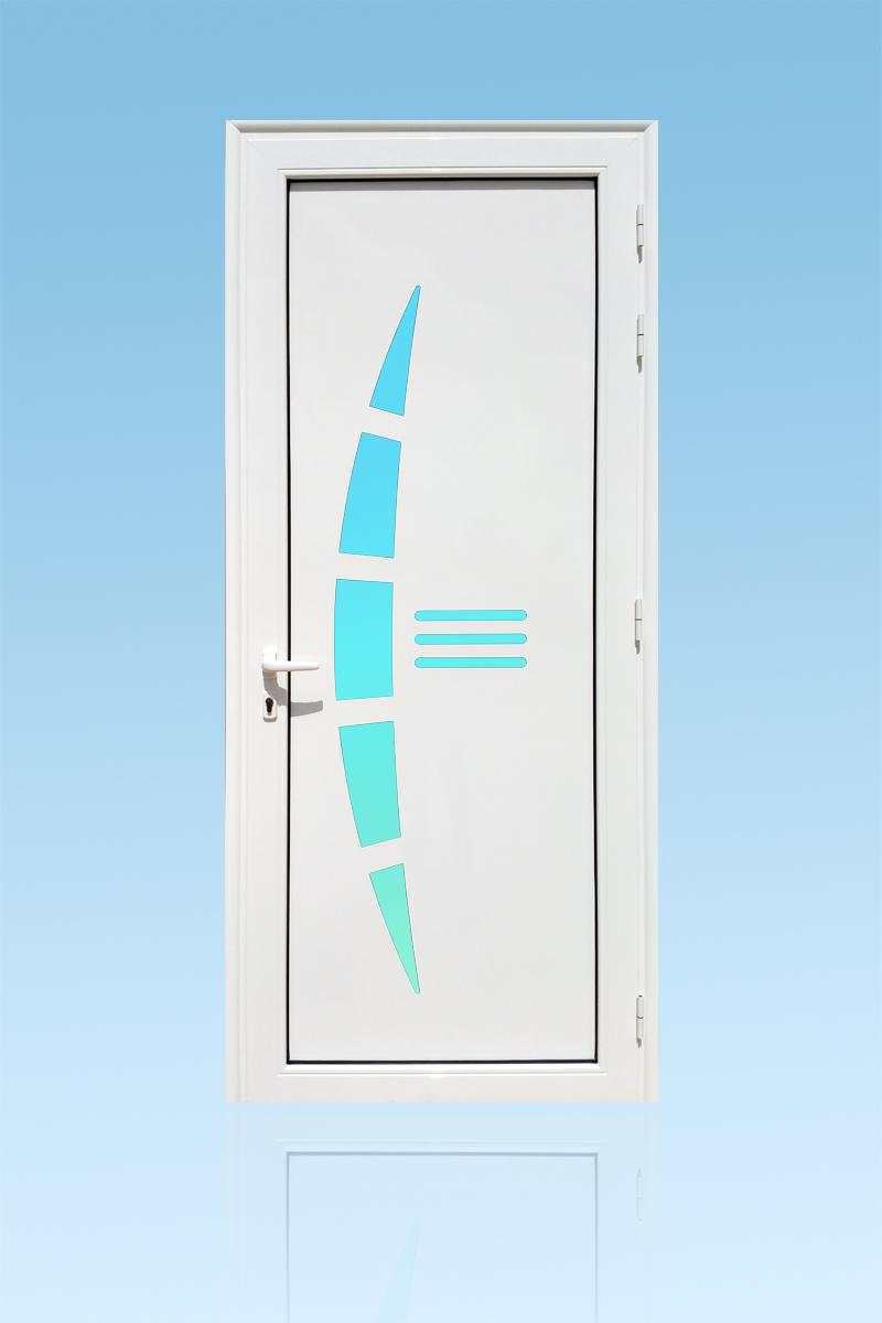 Porte d'entrée décor Virgin en aluminium et verre opale ABD Fermetures