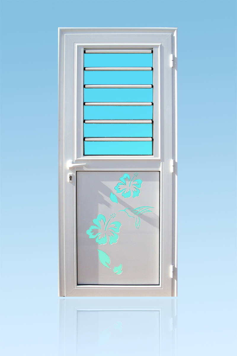 Porte d'entrée décor Colibri avec jalousie en aluminium et vitrage ABD Fermetures