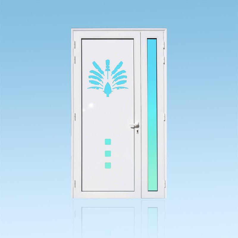 Porte d'entrée décor Arbre du Voyageur en aluminium et verre opale ABD Fermetures