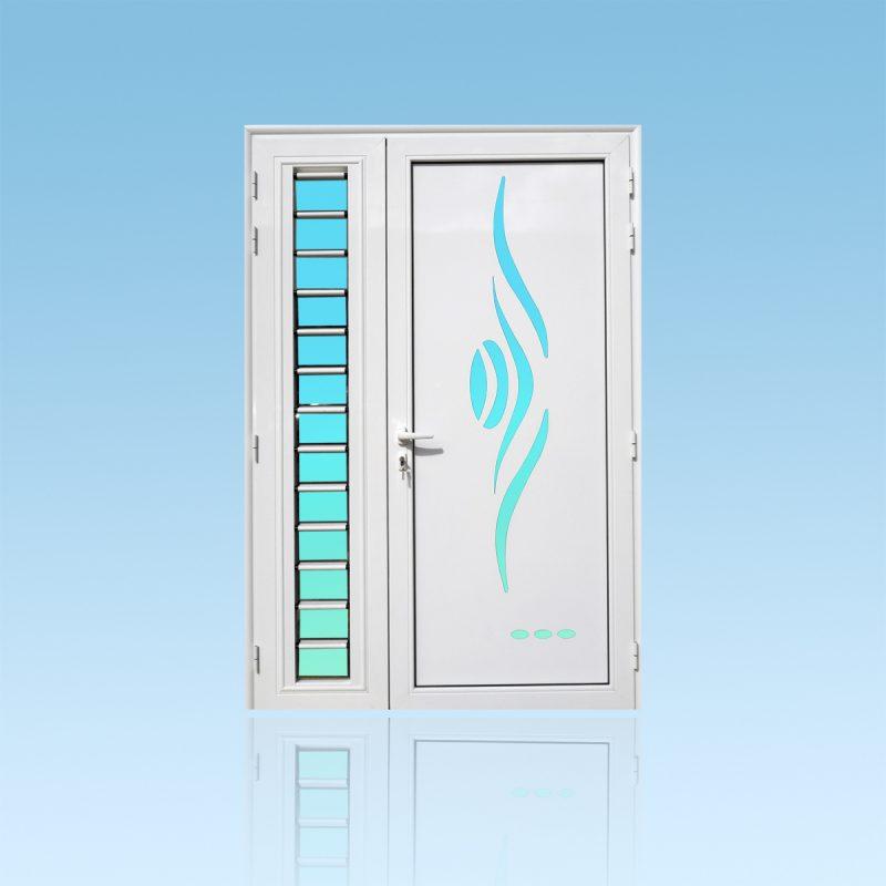 Porte d'entrée décor Sanza avec jalousie en aluminium et verre opale ABD Fermetures
