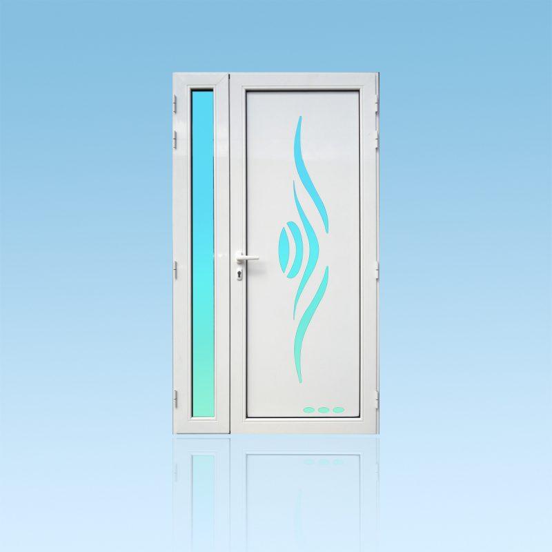 Porte d'entrée décor Sanza en aluminium et verre opale ABD Fermetures