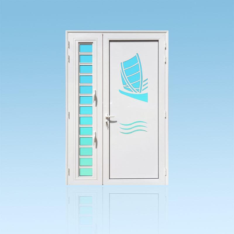 Porte d'entrée décor Yole avec jalousie en aluminium et verre opale ABD Fermetures