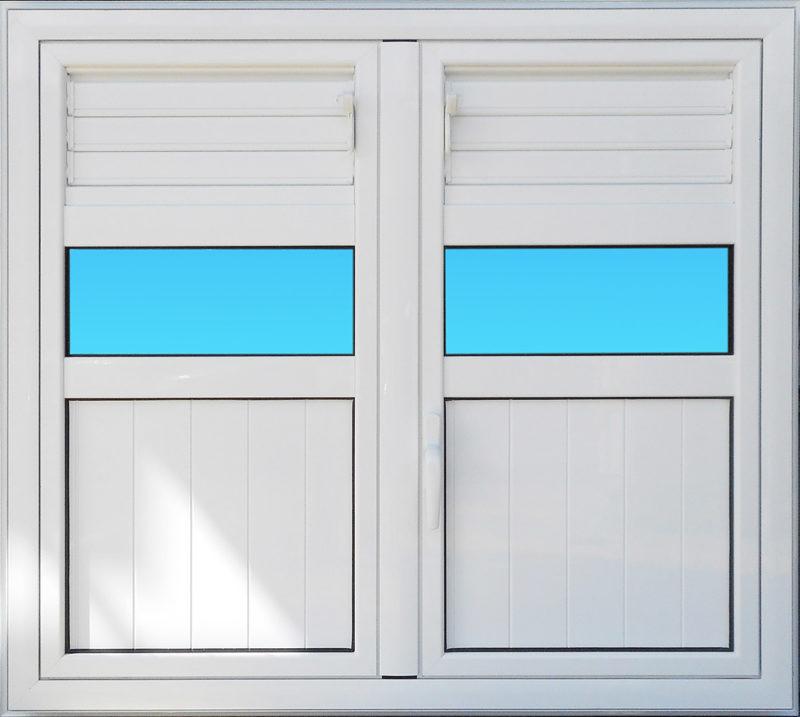 Volet battant en aluminium laqué blanc 2 vantaux munies de lames ventilantes et de bandes vitrées ABD FERMETURES.