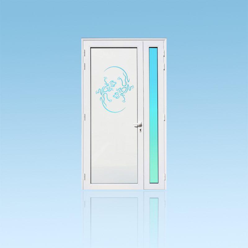 Porte d'entrée décor Mabouya en aluminium et verre opale ABD Fermetures