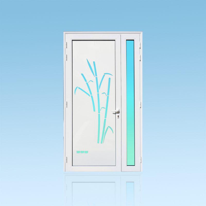 Porte d'entrée décor Cannes en aluminium et verre opale ABD Fermetures
