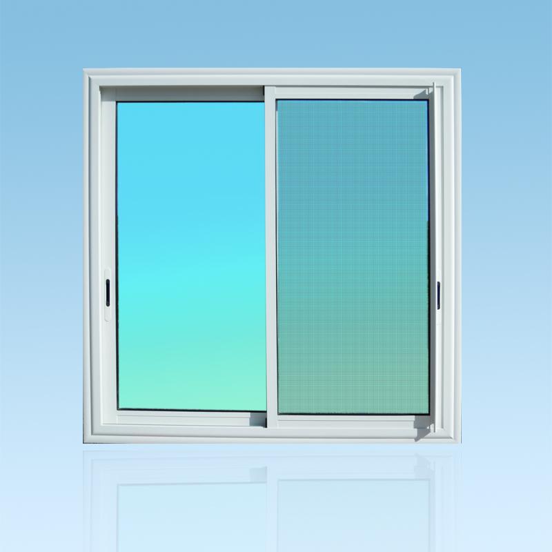 Fenêtre coulissante en aluminium laqué blanc 2 vantaux avec moustiquaire et verre clair ABD FERMETURES.