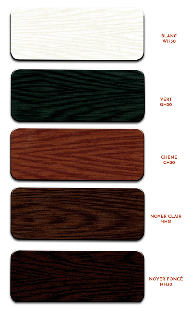 Nuancier finition bois des menuiseries aluminium ABD FERMETURES