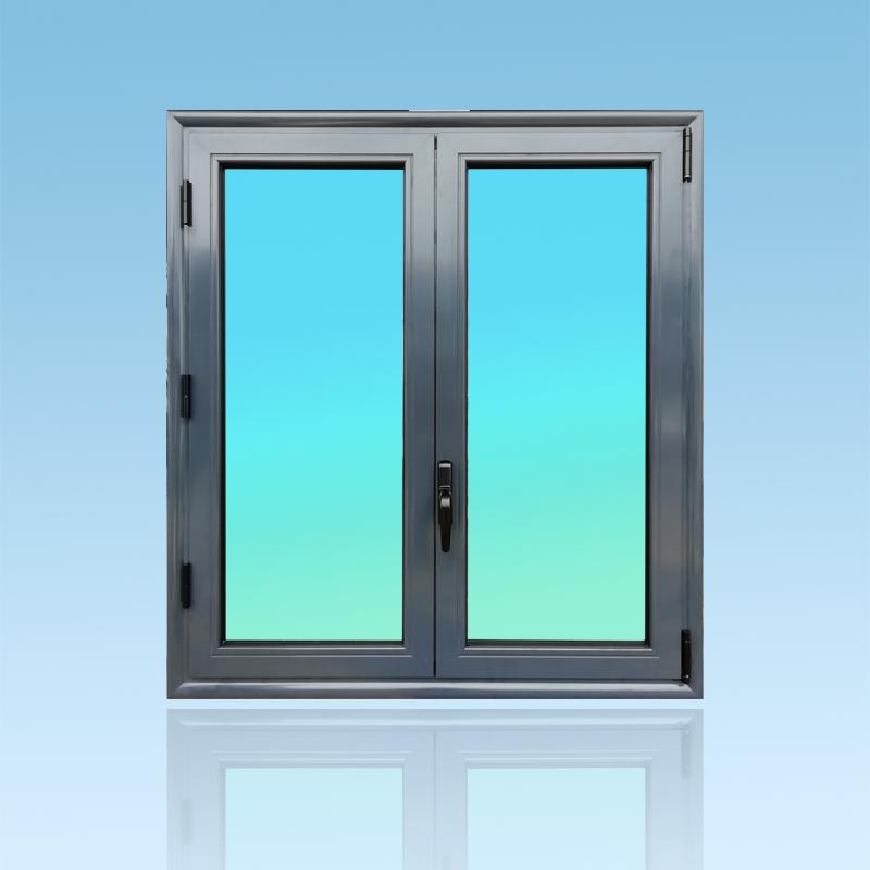 Fenêtre oscillo battante OB21 en aluminium laqué anthracite de la gamme Vision à 2 vantaux ABD FERMETURES.