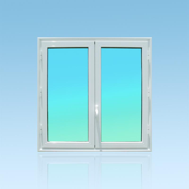 Fenêtre ouvrante à la Française OF21 en aluminium laqué blanc de la gamme Vision à 2 vantaux ABD FERMETURES.