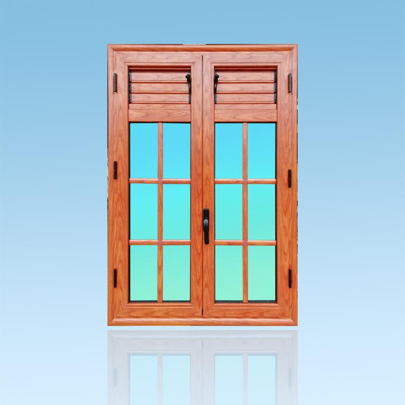 Fenetre petit bois en aluminium finition bois avec lames ventilantes gamme Caraïbes ABD Fermetures