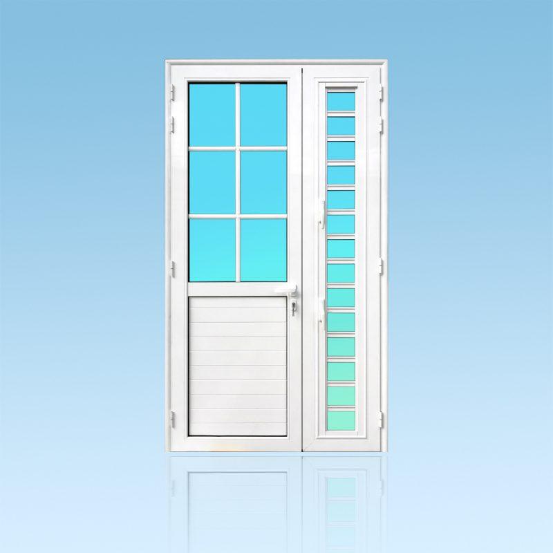 Porte PE22S 2 vantaux aluminium de la Gamme Caraïbes avec colonne et jalousie ABD FERMETURES