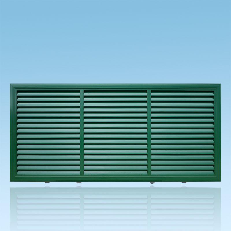 Portail brise vue coulissant en aluminium laqué vert ABD FERMETURES