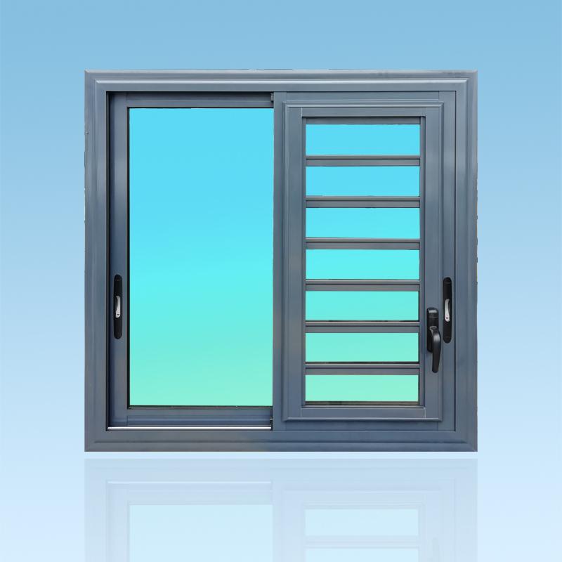 Fenêtre coulissante en aluminium laqué anthracite 2 vantaux avec mjalousie et verre clair ABD FERMETURES.
