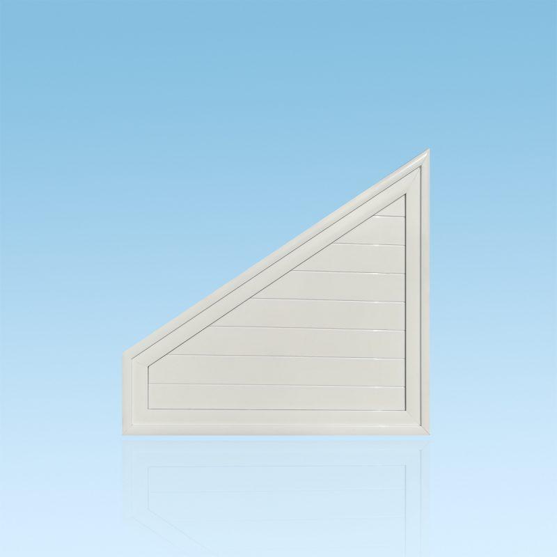 Trapèze en aluminium laqué blanc remplissage lames aluminium ABD FERMETURES.