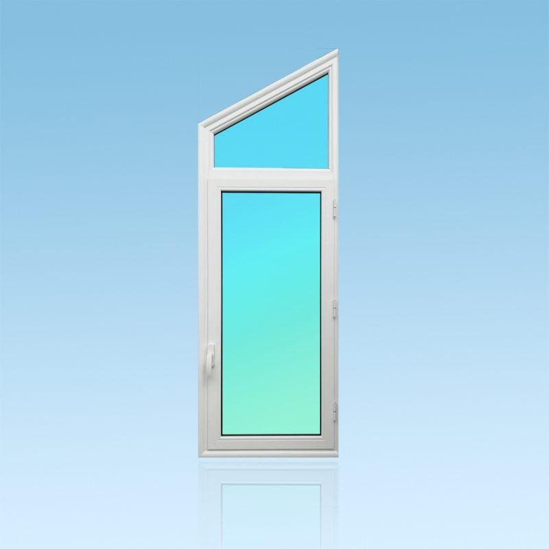 Trapèze OF11-IS en aluminium laqué blanc muni d'une fenêtre avec vitrage clair 8 mm et couvre joint intégré.
