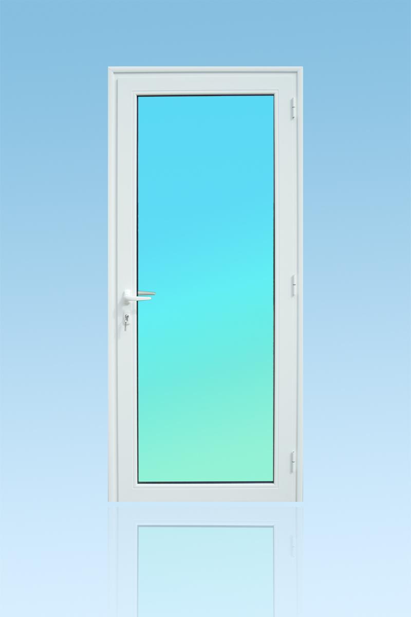 Porte PE11 en aluminium laqué blanc 1 vantail vitrage clair ABD FERMETURES