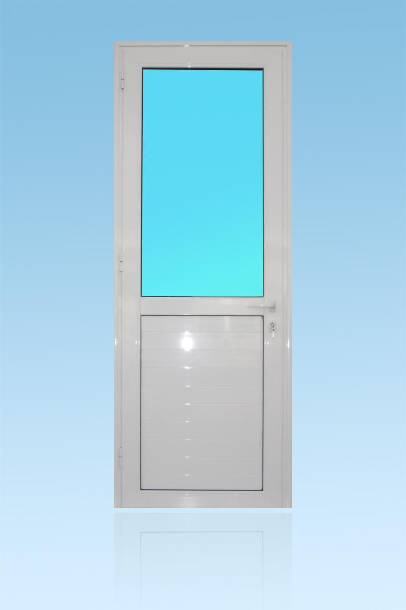 Porte PE12 en aluminium laqué blanc 1 vantail vitrage clair et allège ABD FERMETURES