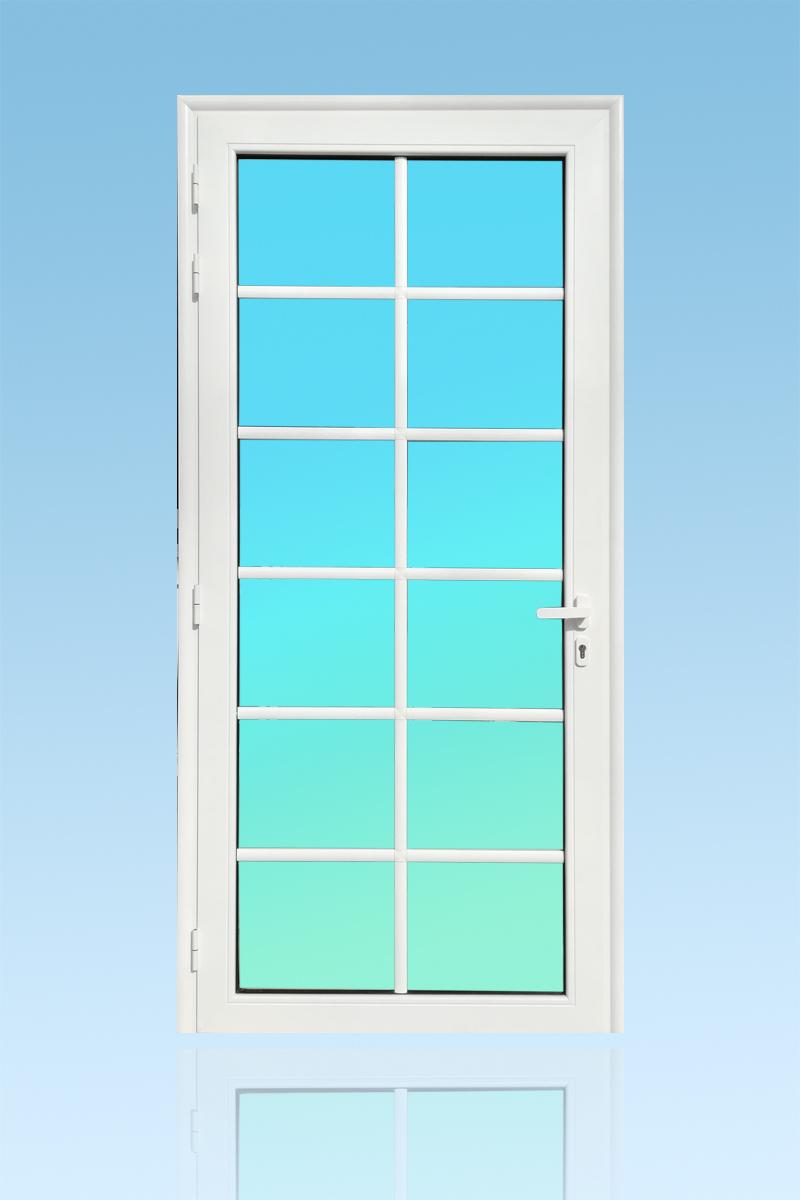 Porte PE13 en aluminium laqué blanc avec petits bois verre clair et serrure de sécurité 3 points ABD FERMETURES.