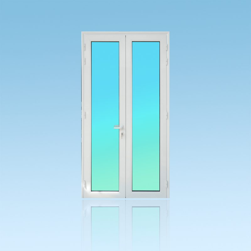 Porte 2 vantaux en aluminium avec vitrage clair et couvres joints intégrés ABD FERMETURES.