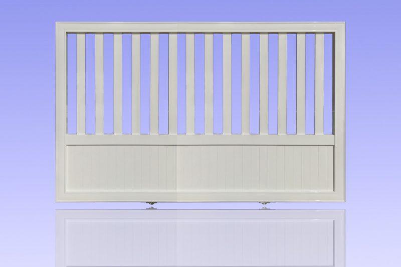Portail barreaudé coulissant en aluminium laqué blanc ABD FERMETURES