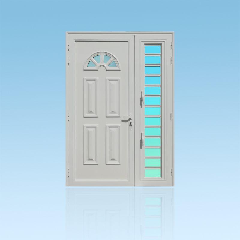 Porte décors Florida PS21 en aluminium laqué avec jalousie et verre opale ABD FERMETURES.