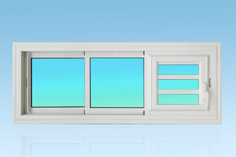 Fenêtre coulissante en aluminium laqué blanc 3 vantaux 3 rails avec jalousie coulissante. ABD FERMETURES