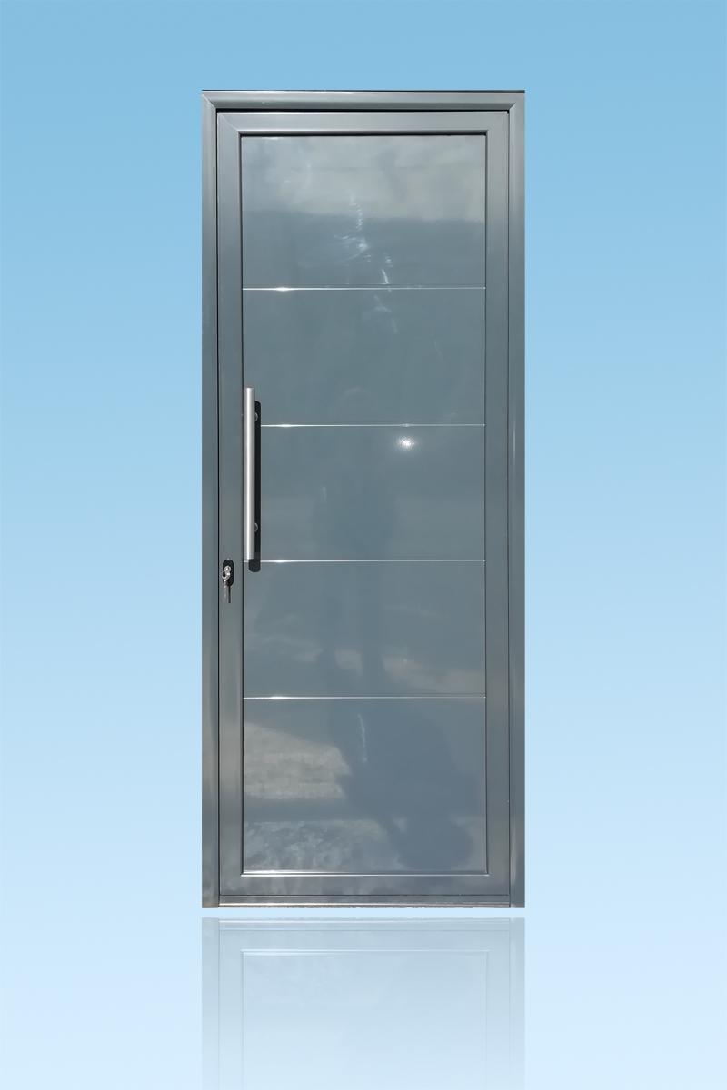 Porte décor Geometric bâton de Maréchal droit en aluminium laqué anthracite ABD FERMETURES