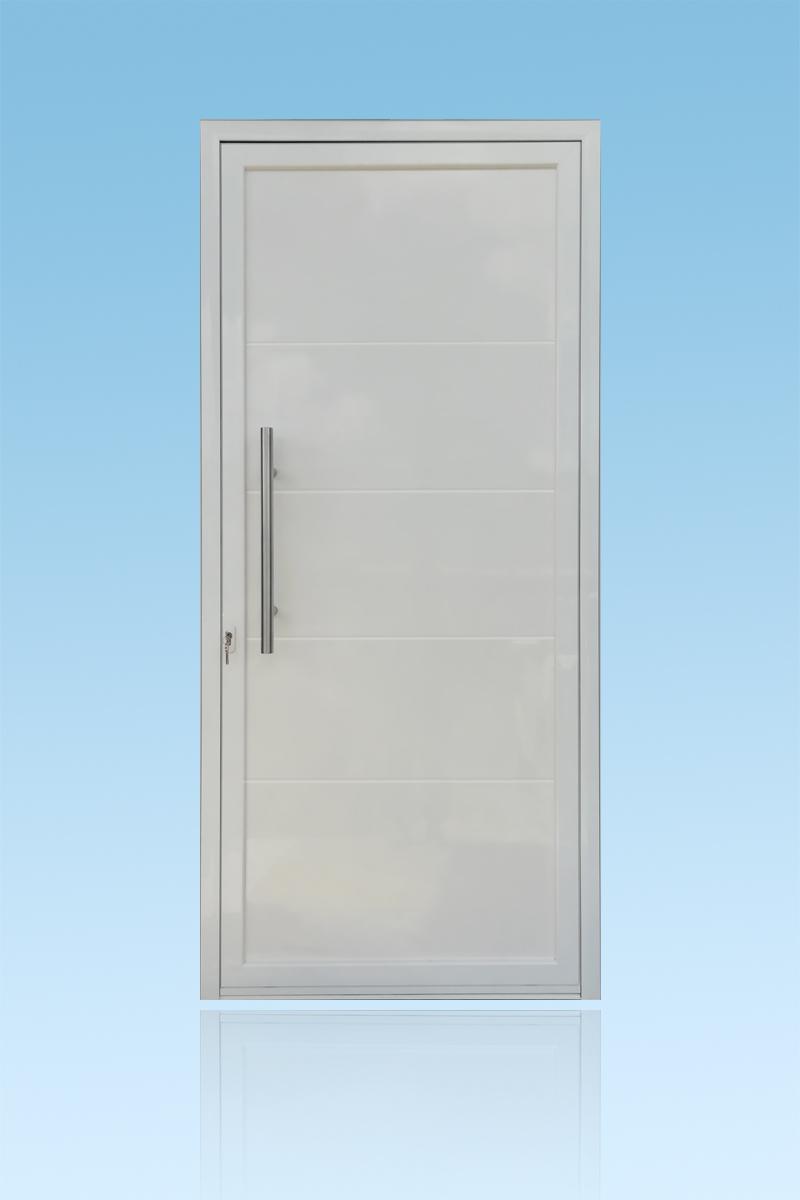 Porte décor un vantail Geometric en aluminium laqué blanc