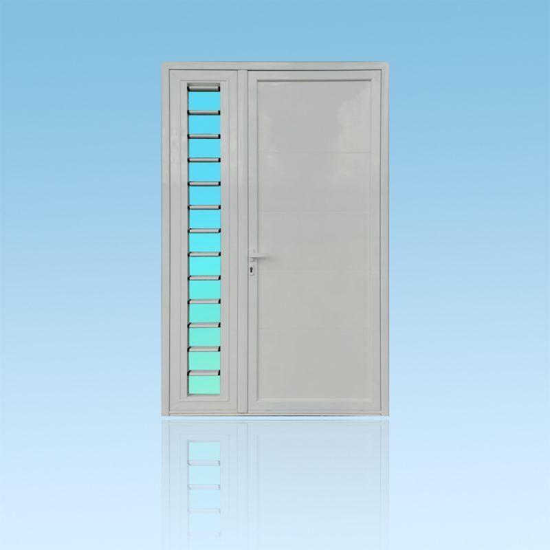 Porte Décor Geometric 2 vantaux avec jalousie en aluminium laqué ABD FERMETURES