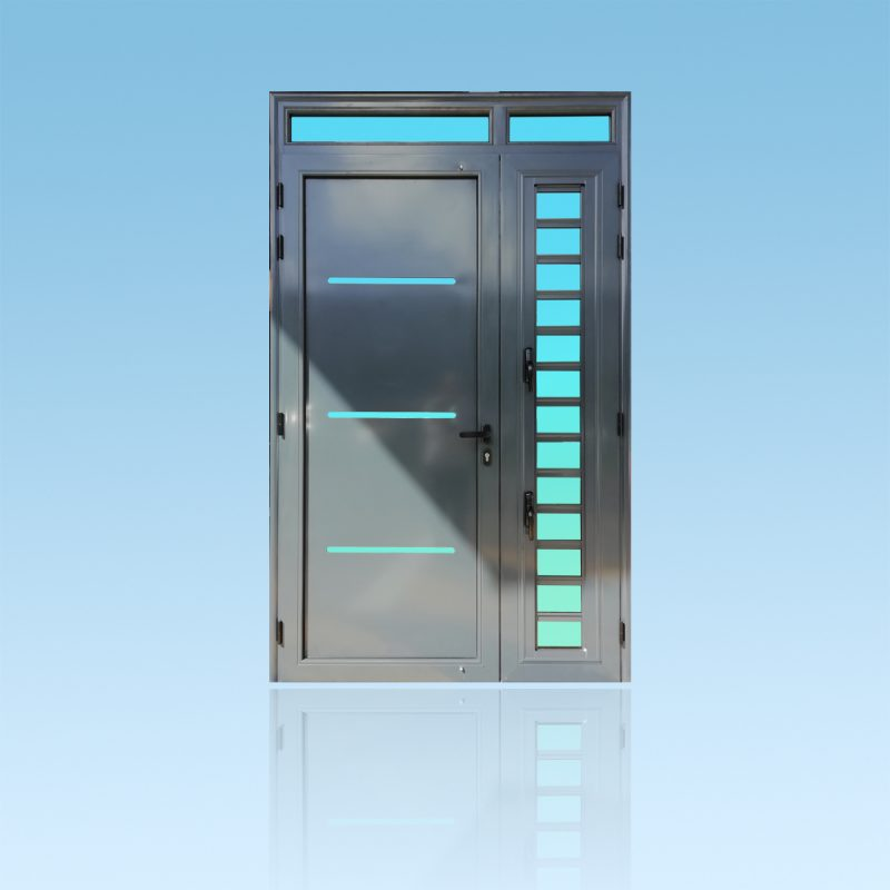 Porte Décor Linea en aluminium anthracite avec jalousie et imposte ABD FERMETURES